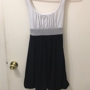 Babydoll monochromatic white,grey, black dress